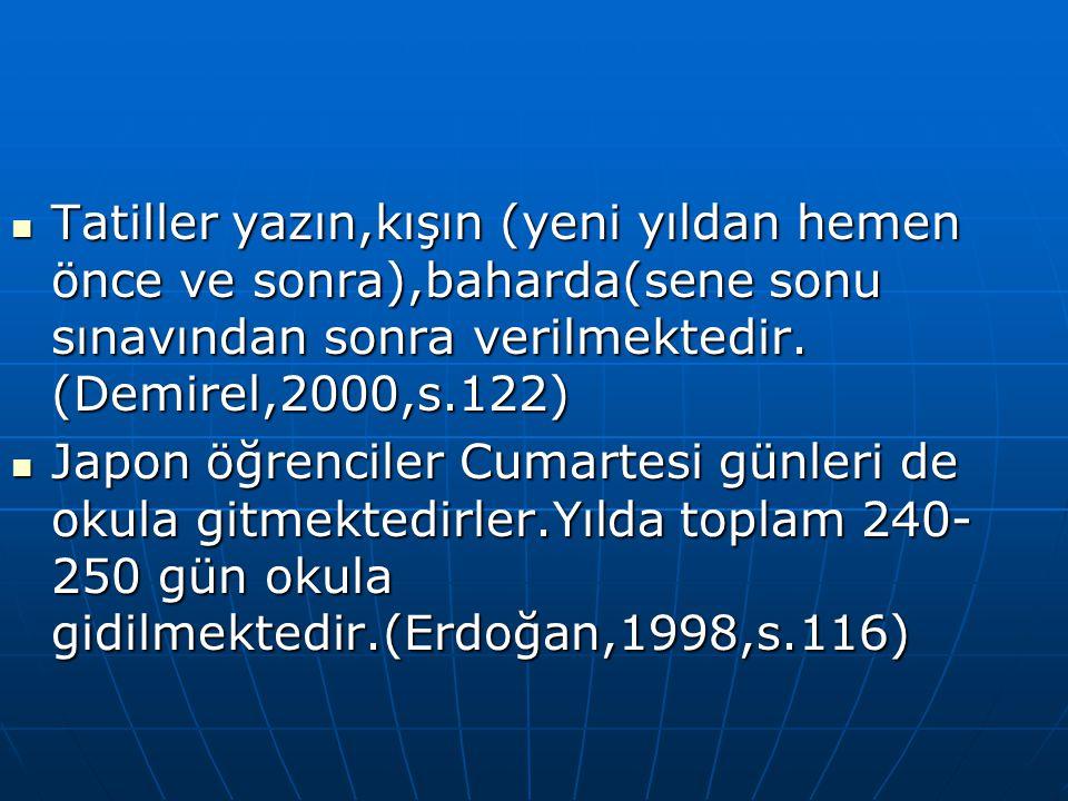 Tatiller yazın,kışın (yeni yıldan hemen önce ve sonra),baharda(sene sonu sınavından sonra verilmektedir. (Demirel,2000,s.122)
