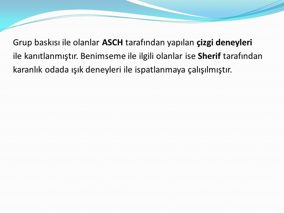 Grup baskısı ile olanlar ASCH tarafından yapılan çizgi deneyleri ile kanıtlanmıştır.