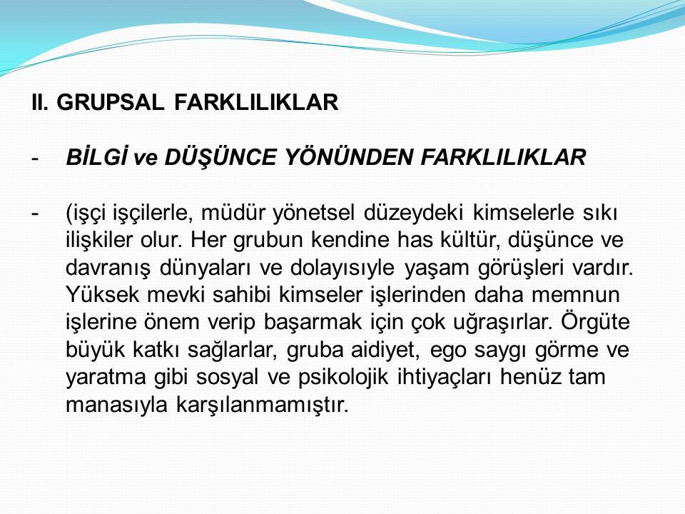 II. GRUPSAL FARKLILIKLAR