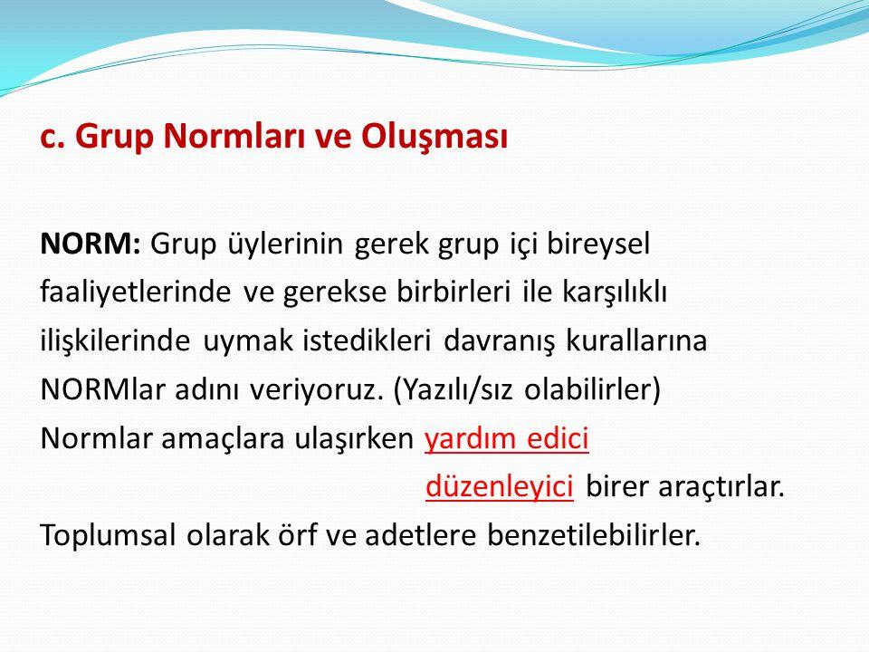 c. Grup Normları ve Oluşması