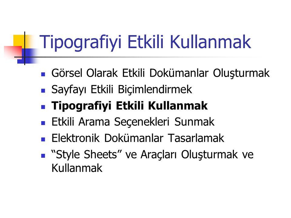 Tipografiyi Etkili Kullanmak