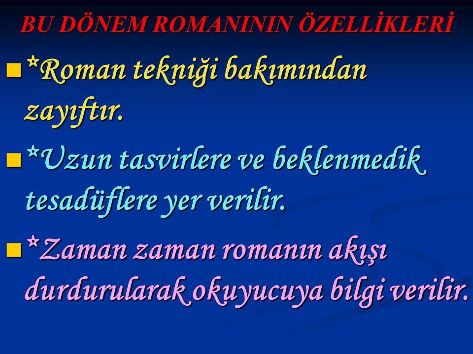 BU DÖNEM ROMANININ ÖZELLİKLERİ