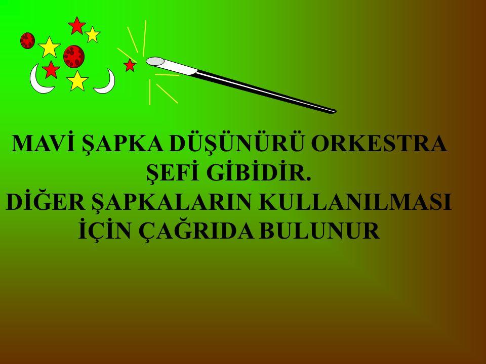 MAVİ ŞAPKA DÜŞÜNÜRÜ ORKESTRA ŞEFİ GİBİDİR.