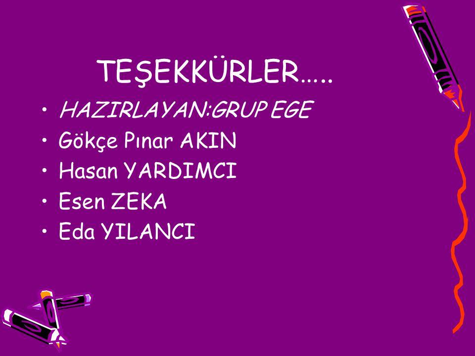 TEŞEKKÜRLER….. HAZIRLAYAN:GRUP EGE Gökçe Pınar AKIN Hasan YARDIMCI