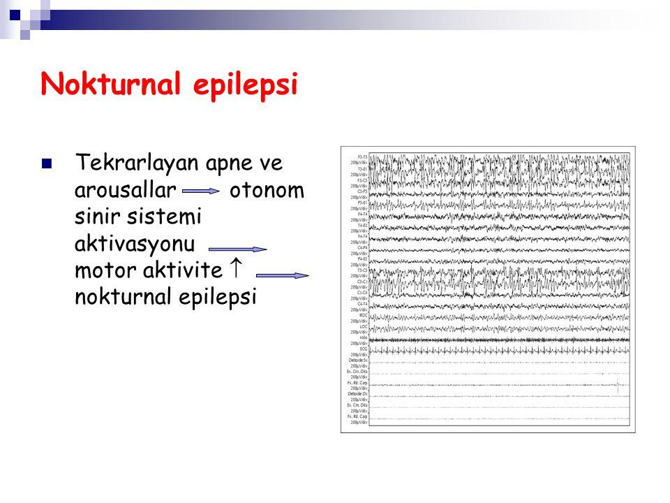Nokturnal epilepsi Tekrarlayan apne ve arousallar otonom sinir sistemi aktivasyonu motor aktivite  nokturnal epilepsi.