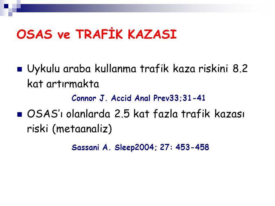 OSAS ve TRAFİK KAZASI Uykulu araba kullanma trafik kaza riskini 8.2 kat artırmakta. Connor J. Accid Anal Prev33;31-41.