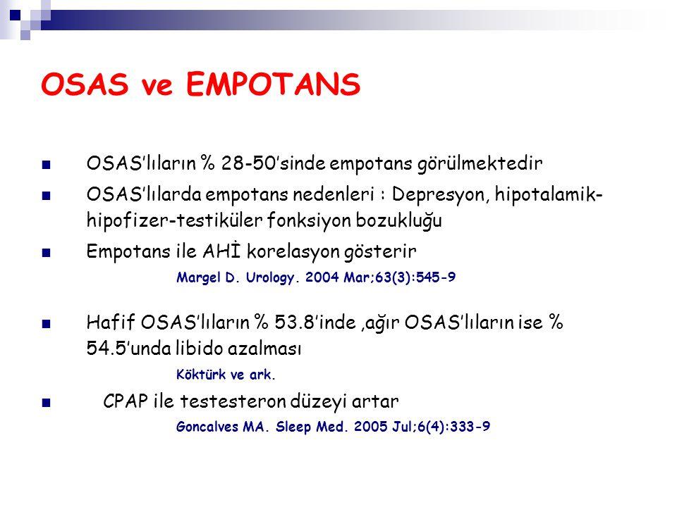 OSAS ve EMPOTANS OSAS'lıların % 28-50'sinde empotans görülmektedir