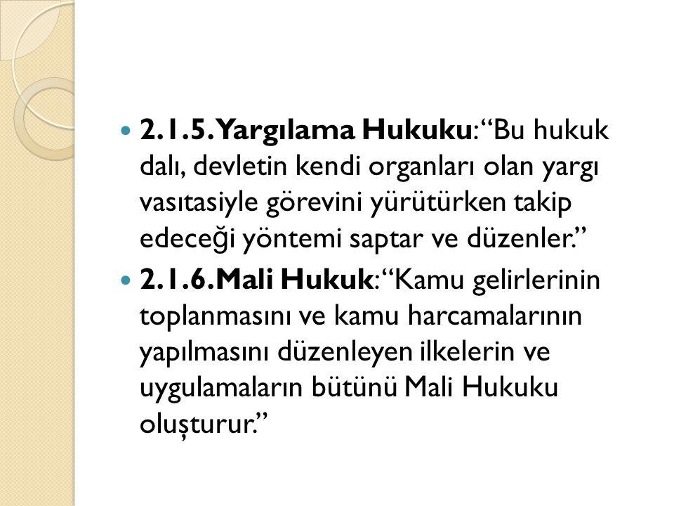 2.1.5.Yargılama Hukuku: Bu hukuk dalı, devletin kendi organları olan yargı vasıtasiyle görevini yürütürken takip edeceği yöntemi saptar ve düzenler.