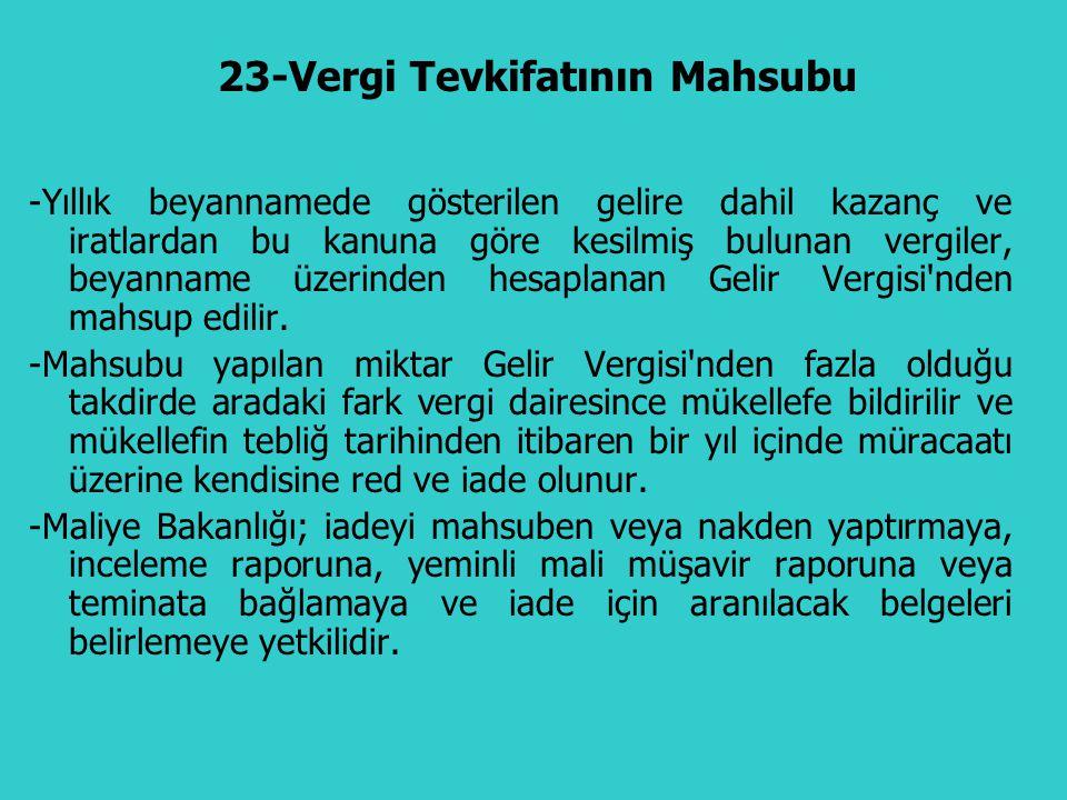 23-Vergi Tevkifatının Mahsubu