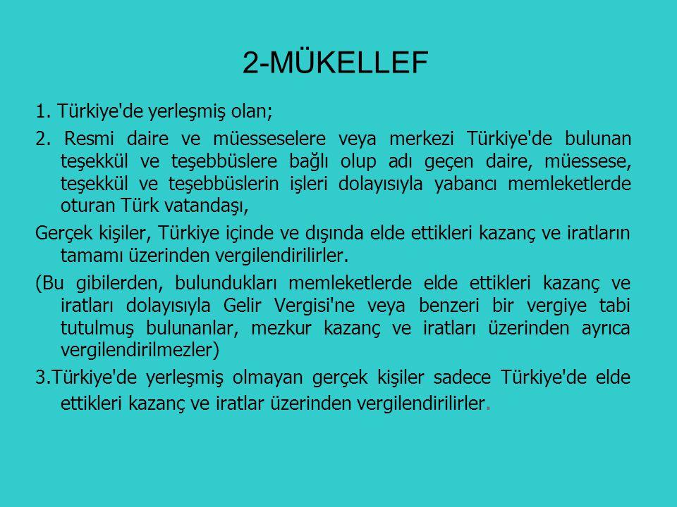 2-MÜKELLEF 1. Türkiye de yerleşmiş olan;