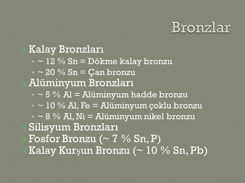 Bronzlar Kalay Bronzları Alüminyum Bronzları Silisyum Bronzları