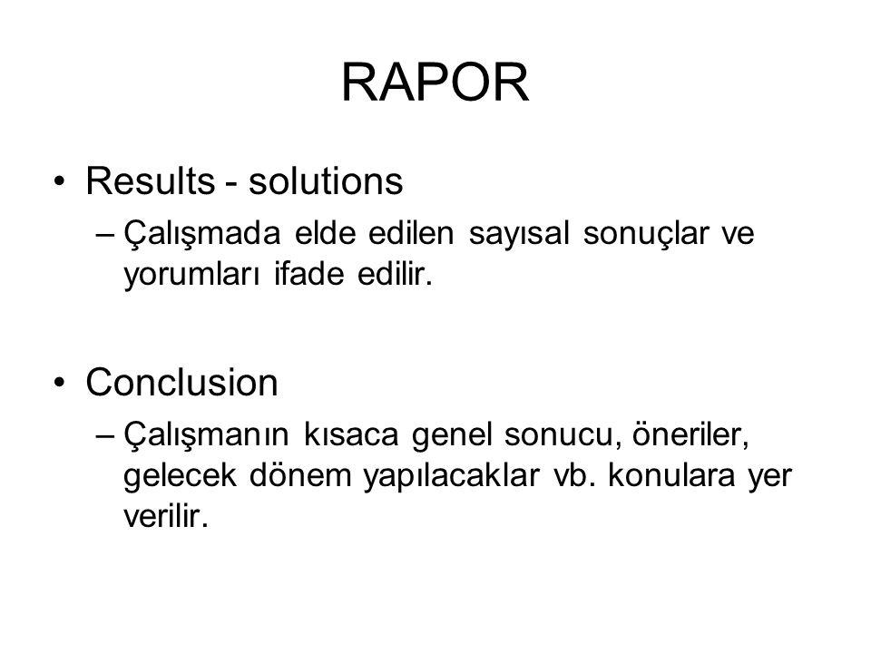 RAPOR Results - solutions Conclusion