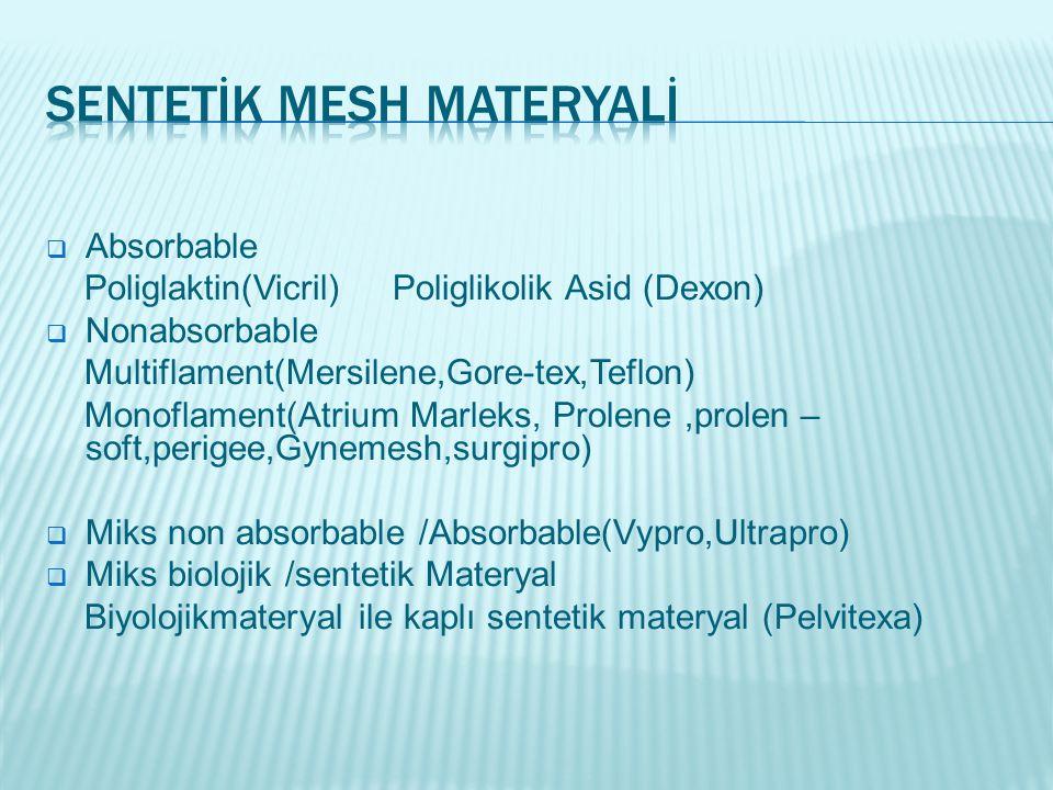 Sentetİk Mesh Materyalİ