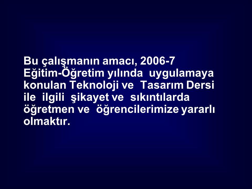 Bu çalışmanın amacı, 2006-7 Eğitim-Öğretim yılında uygulamaya. konulan Teknoloji ve Tasarım Dersi.