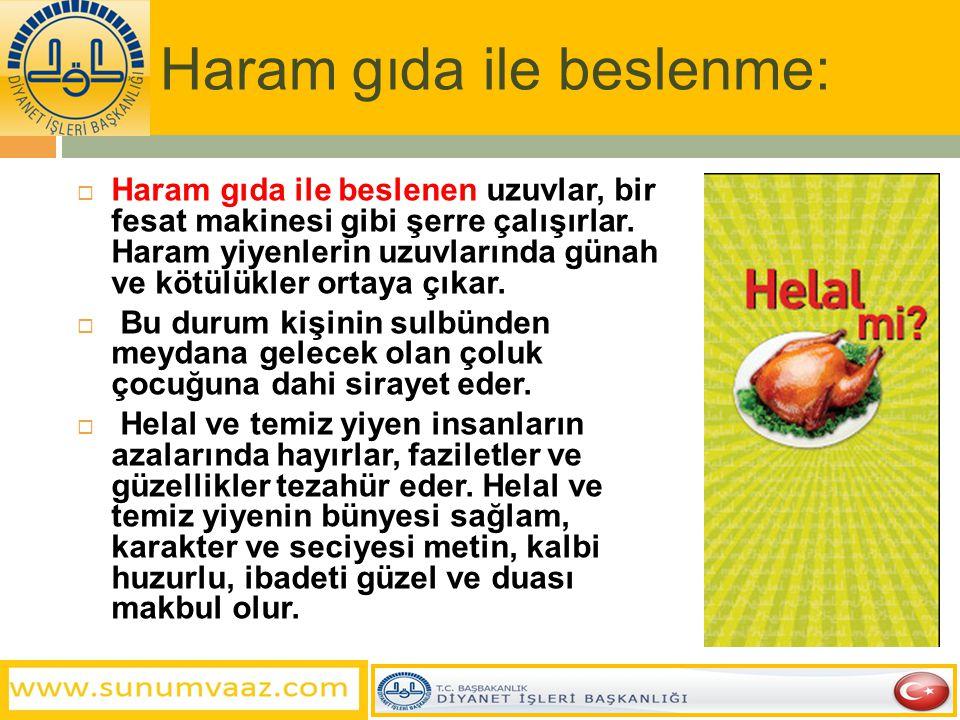 Haram gıda ile beslenme: