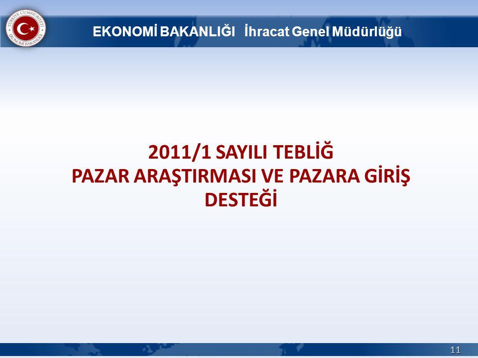 2011/1 SAYILI TEBLİĞ PAZAR ARAŞTIRMASI VE PAZARA GİRİŞ DESTEĞİ