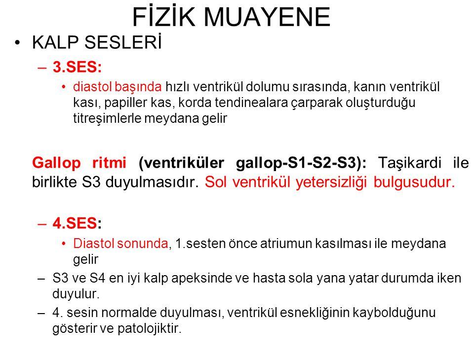 FİZİK MUAYENE KALP SESLERİ 3.SES: