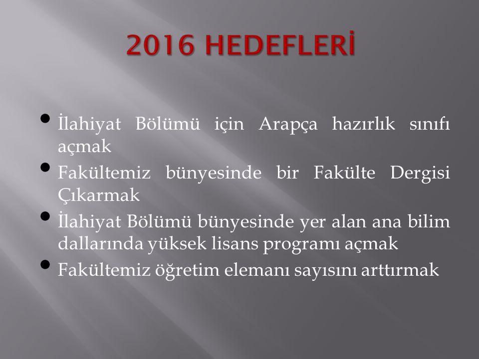 2016 HEDEFLERİ İlahiyat Bölümü için Arapça hazırlık sınıfı açmak