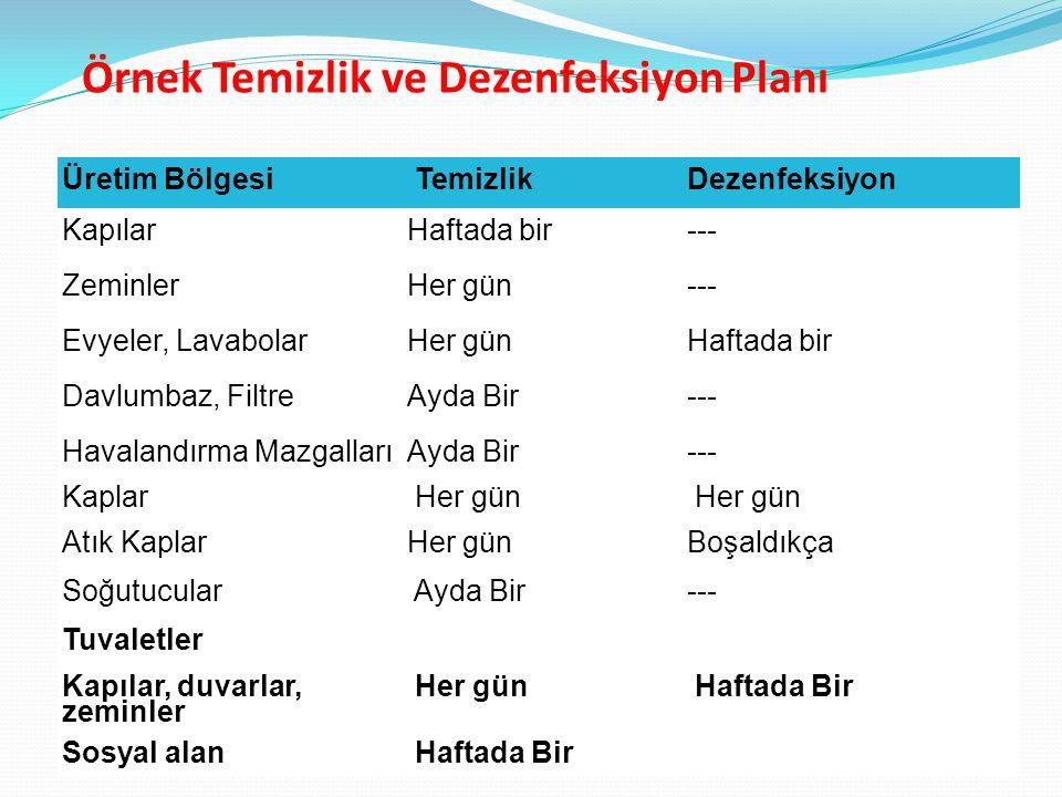 Örnek Temizlik ve Dezenfeksiyon Planı