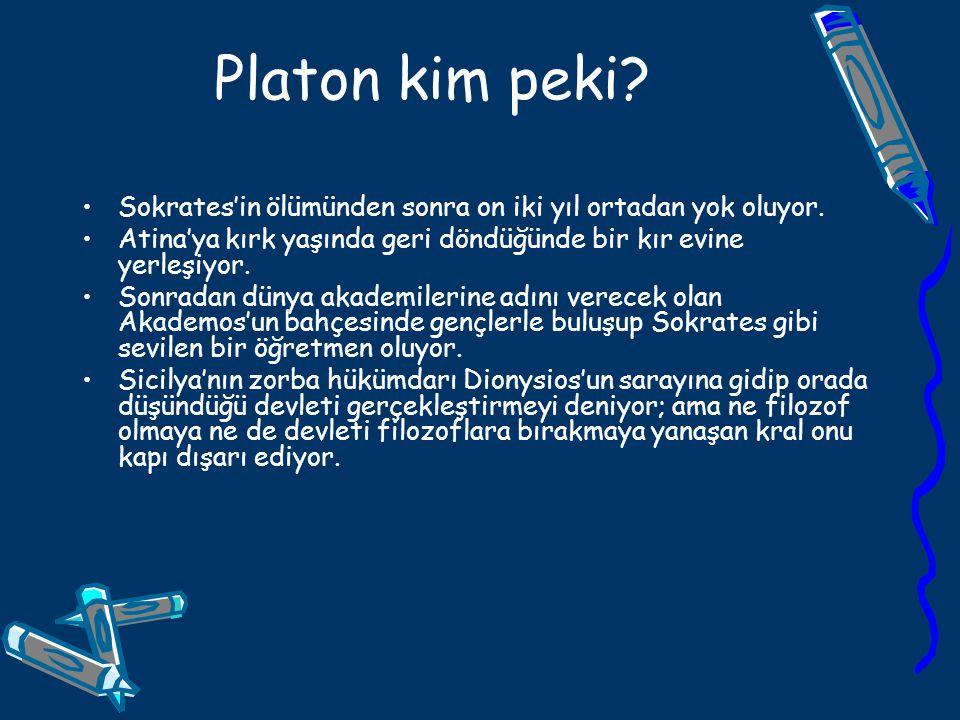 Platon kim peki Sokrates'in ölümünden sonra on iki yıl ortadan yok oluyor. Atina'ya kırk yaşında geri döndüğünde bir kır evine yerleşiyor.
