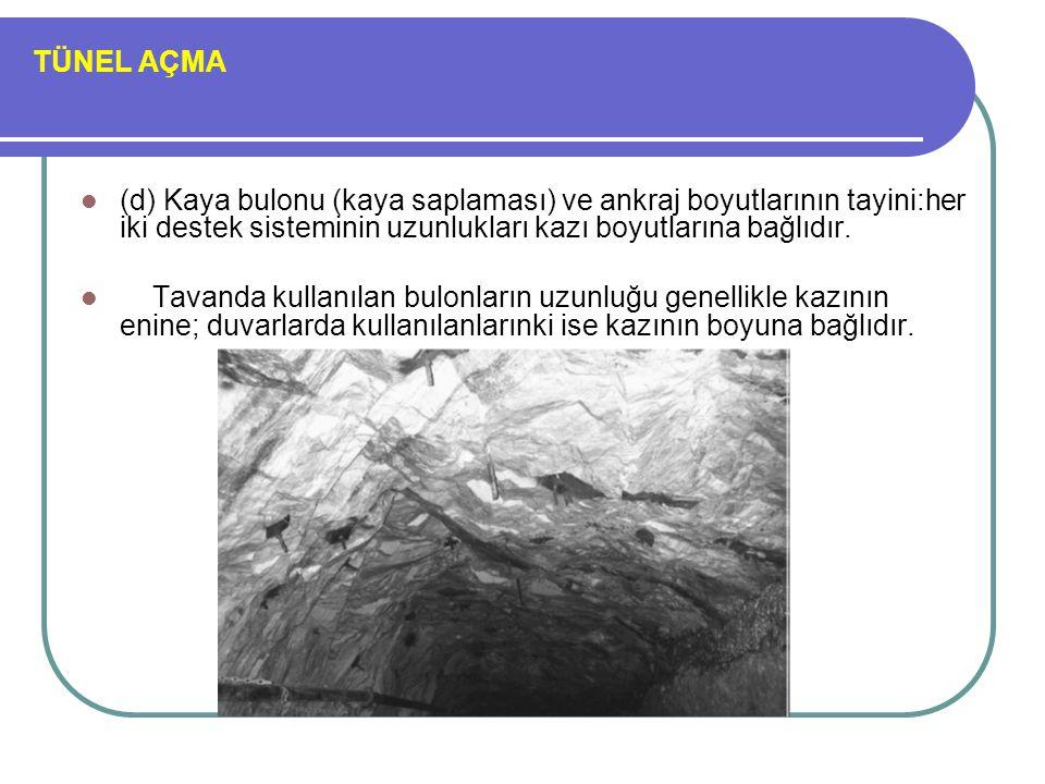 TÜNEL AÇMA (d) Kaya bulonu (kaya saplaması) ve ankraj boyutlarının tayini:her iki destek sisteminin uzunlukları kazı boyutlarına bağlıdır.