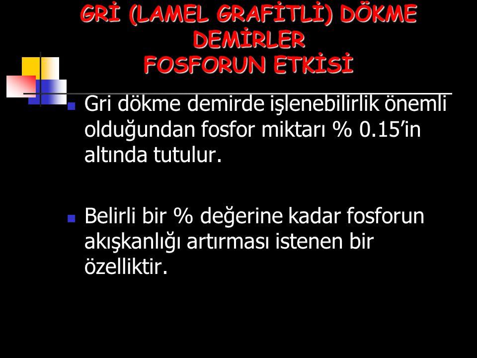 GRİ (LAMEL GRAFİTLİ) DÖKME DEMİRLER FOSFORUN ETKİSİ