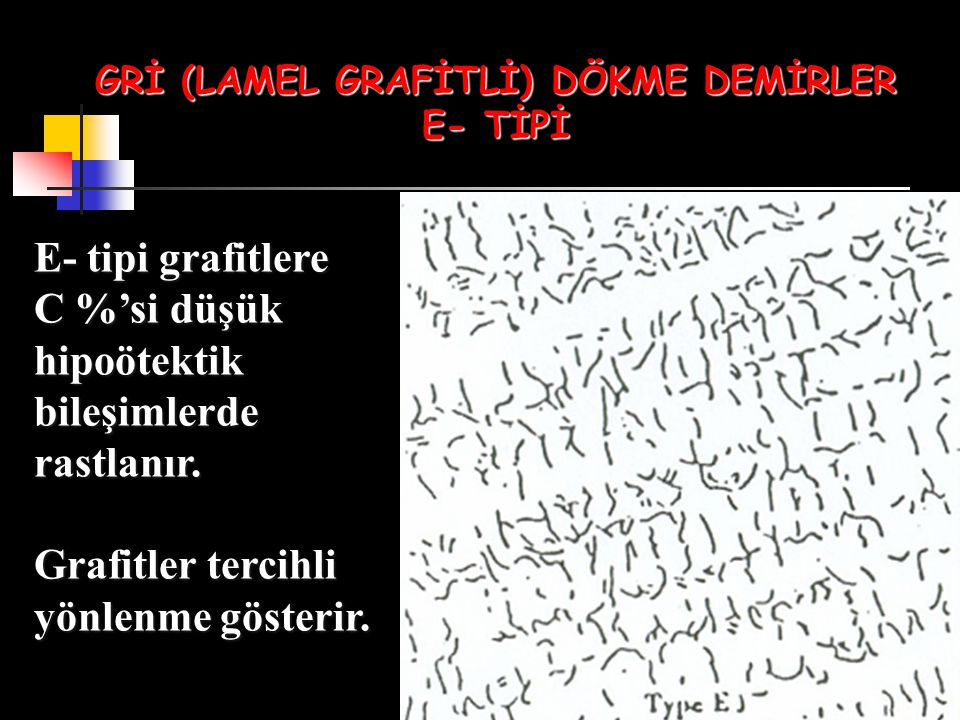 GRİ (LAMEL GRAFİTLİ) DÖKME DEMİRLER E- TİPİ