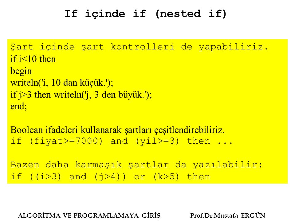 If içinde if (nested if)