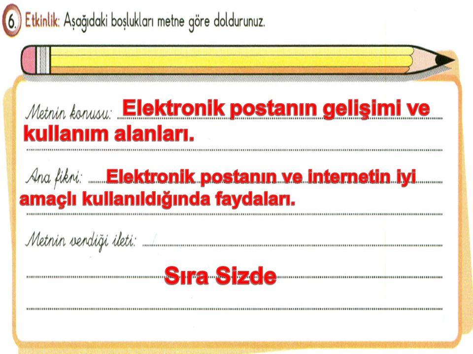 Sıra Sizde Elektronik postanın gelişimi ve kullanım alanları.