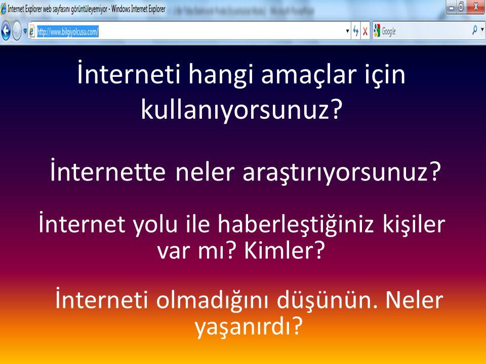 İnterneti hangi amaçlar için kullanıyorsunuz
