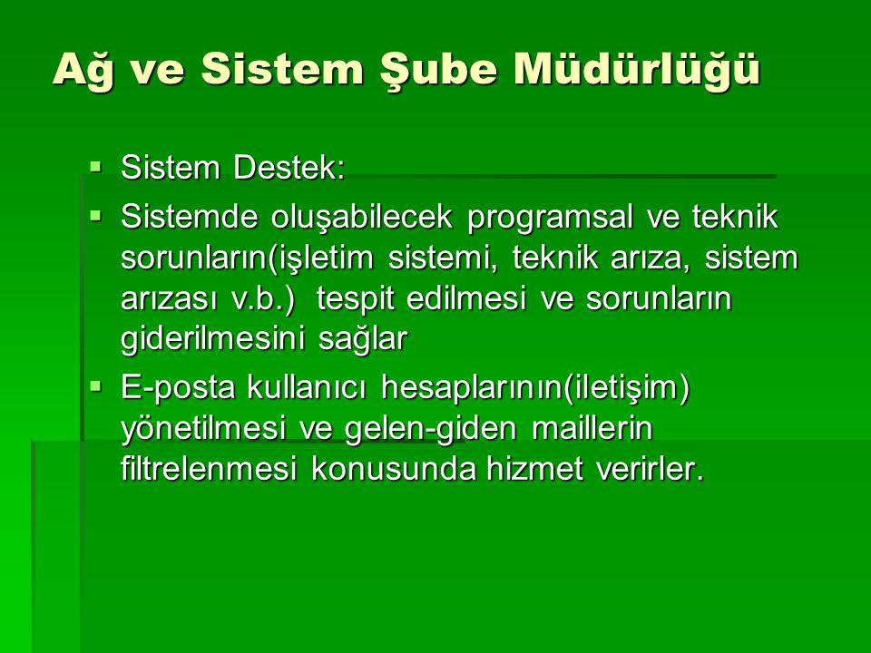 Ağ ve Sistem Şube Müdürlüğü