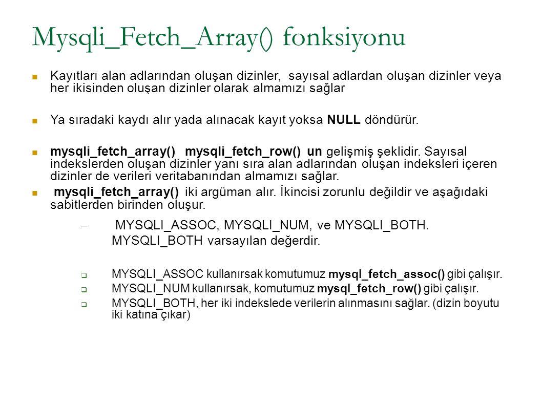 Mysqli_Fetch_Array() fonksiyonu