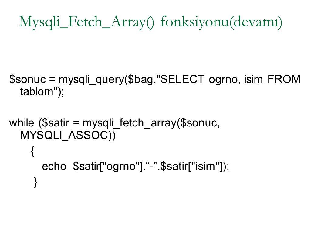 Mysqli_Fetch_Array() fonksiyonu(devamı)