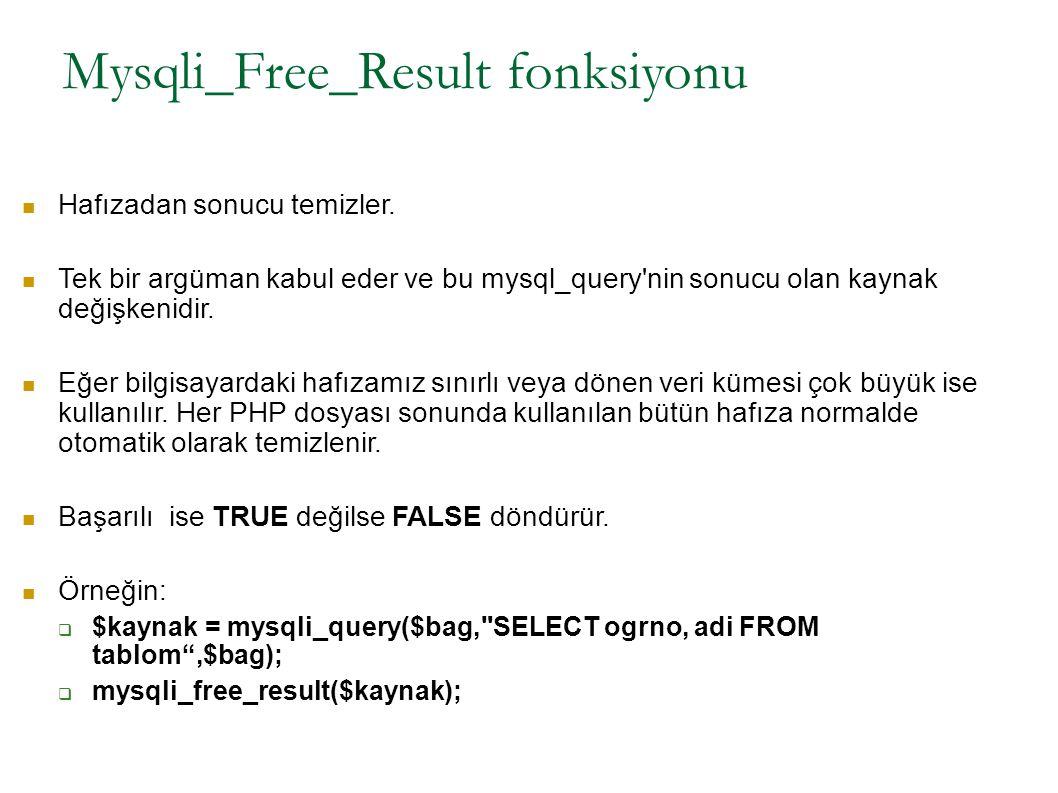 Mysqli_Free_Result fonksiyonu