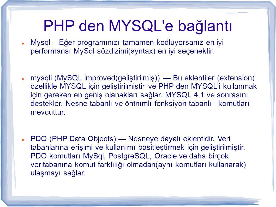 PHP den MYSQL e bağlantı