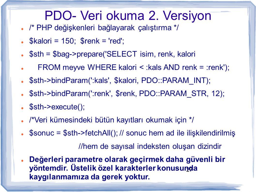 PDO- Veri okuma 2. Versiyon