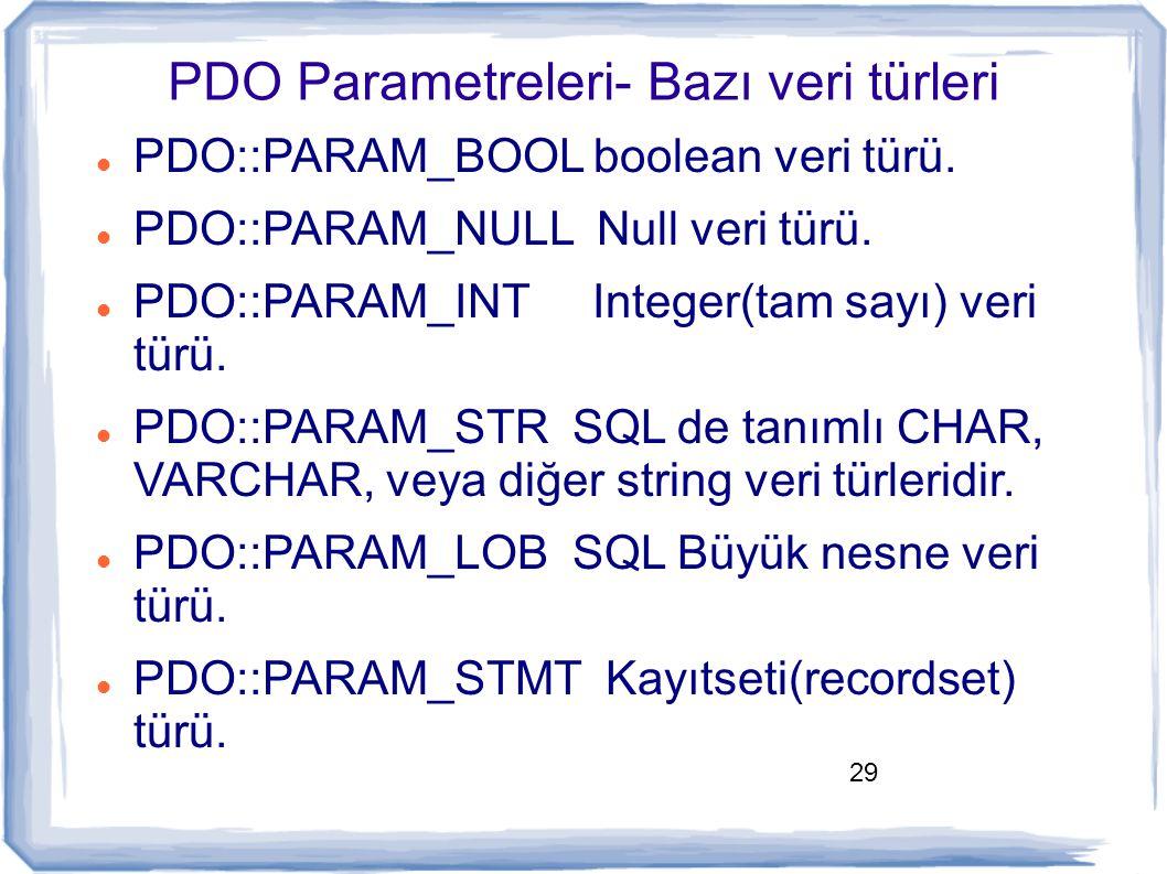 PDO Parametreleri- Bazı veri türleri