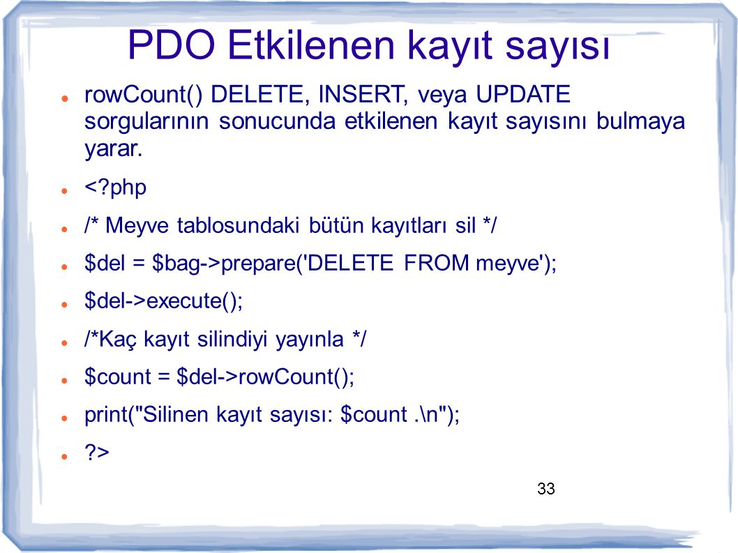PDO Etkilenen kayıt sayısı