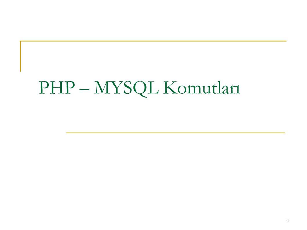 PHP – MYSQL Komutları