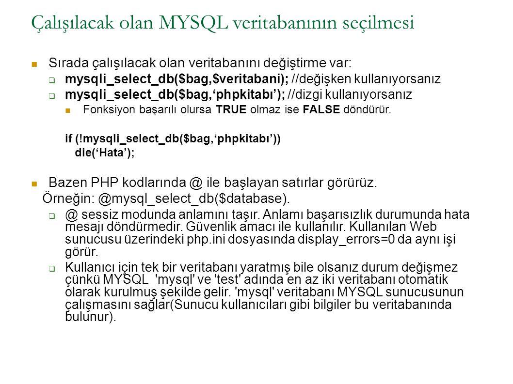 Çalışılacak olan MYSQL veritabanının seçilmesi