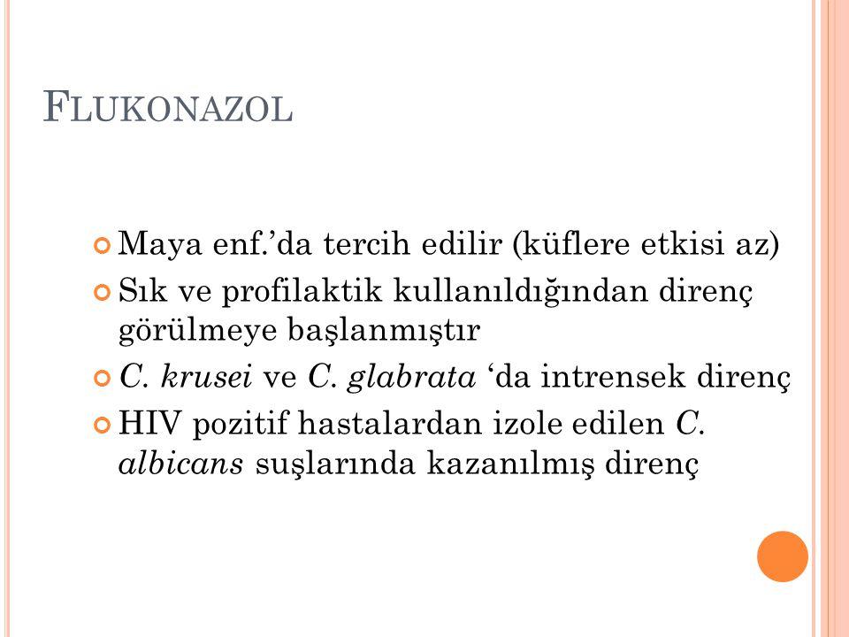 Flukonazol Maya enf.'da tercih edilir (küflere etkisi az)