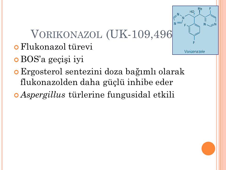 Vorikonazol (UK-109,496) Flukonazol türevi BOS'a geçişi iyi