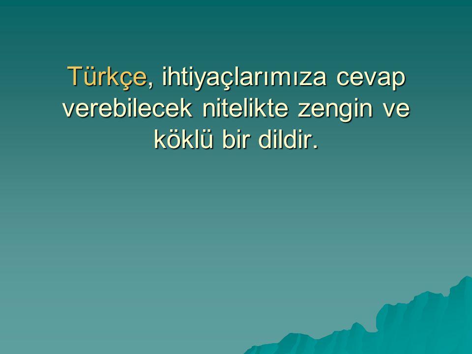 Türkçe, ihtiyaçlarımıza cevap verebilecek nitelikte zengin ve köklü bir dildir.