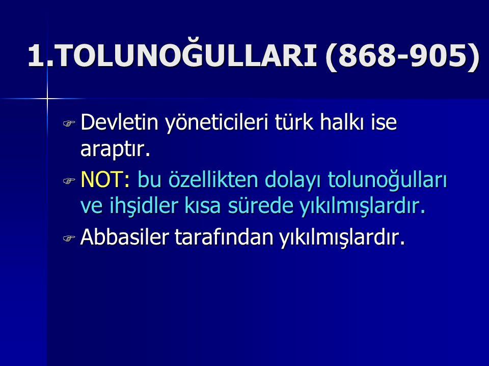 1.TOLUNOĞULLARI (868-905) Devletin yöneticileri türk halkı ise araptır.