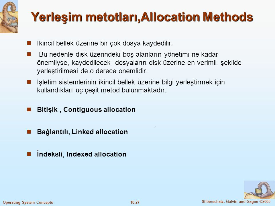 Yerleşim metotları,Allocation Methods