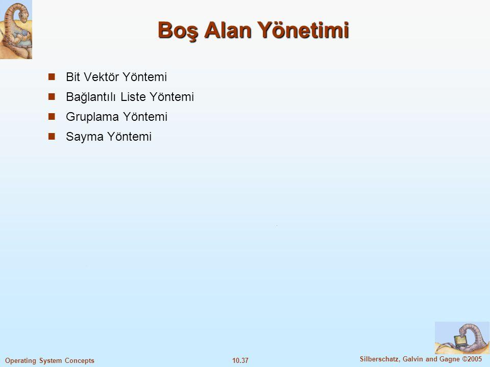 Boş Alan Yönetimi Bit Vektör Yöntemi Bağlantılı Liste Yöntemi