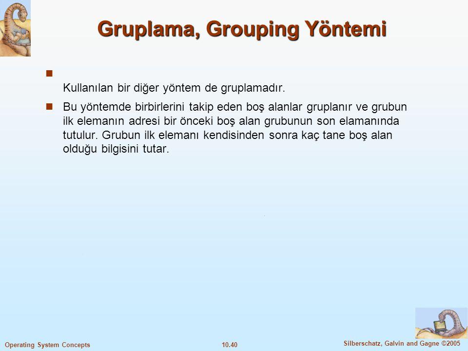 Gruplama, Grouping Yöntemi