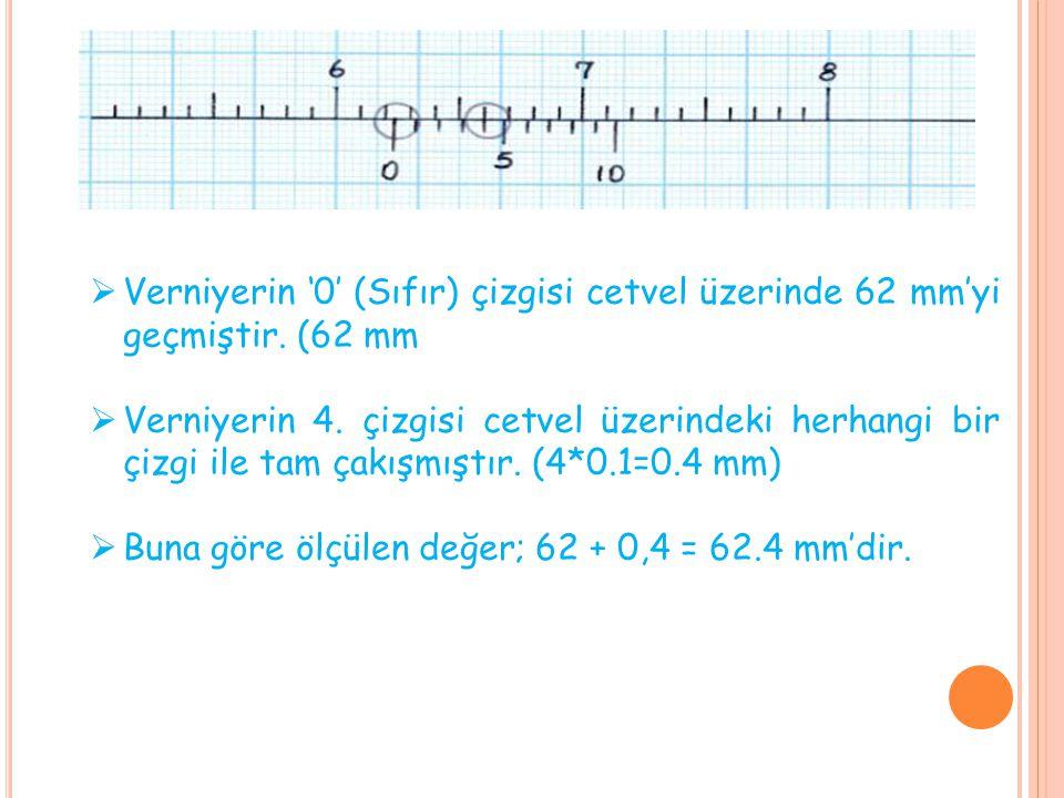 Verniyerin '0' (Sıfır) çizgisi cetvel üzerinde 62 mm'yi geçmiştir