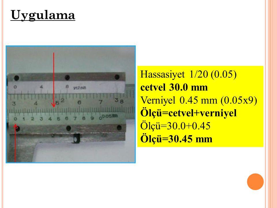 Uygulama Hassasiyet 1/20 (0.05) cetvel 30.0 mm