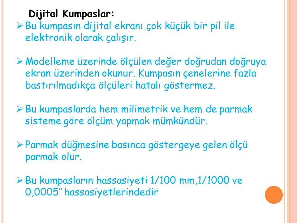 Dijital Kumpaslar: Bu kumpasın dijital ekranı çok küçük bir pil ile elektronik olarak çalışır.